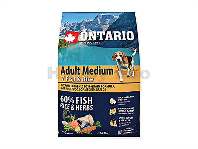 ONTARIO Adult Medium 7 Fish & Rice 2,25kg