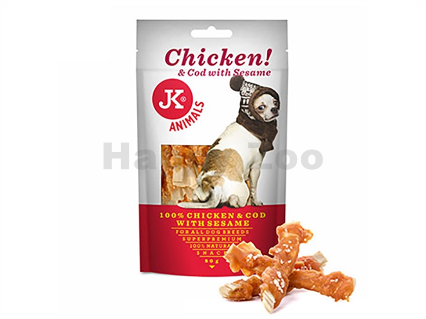 JK Dog Meat Snack - 100% Chicken and Cod with Sesame 80g