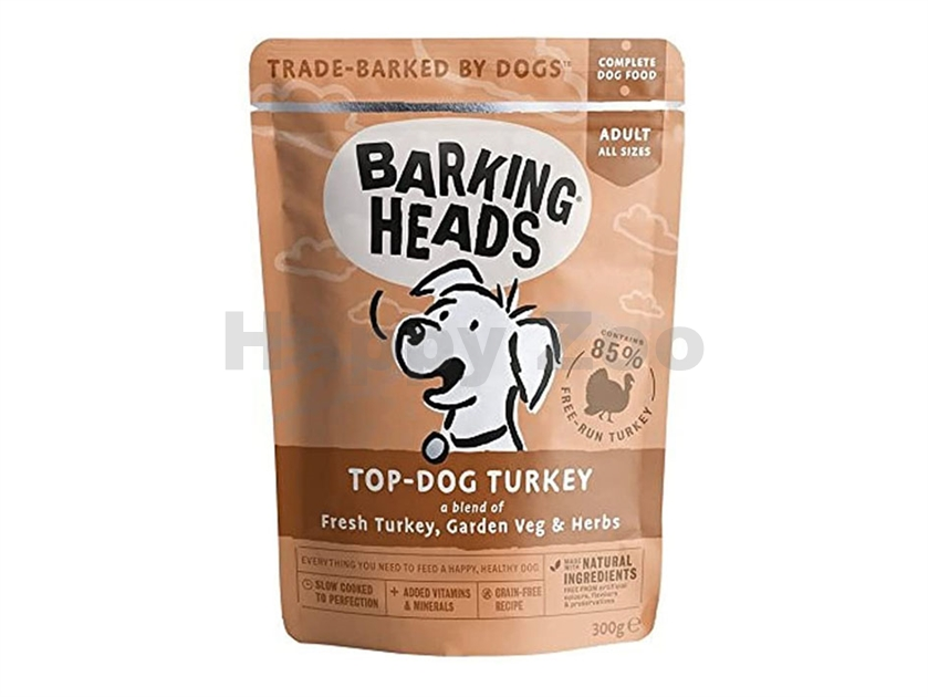 Kapsička BARKING HEADS New Top-Dog Turkey 300g