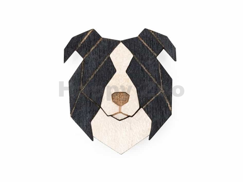 BEWOODEN Border Collie Brooch