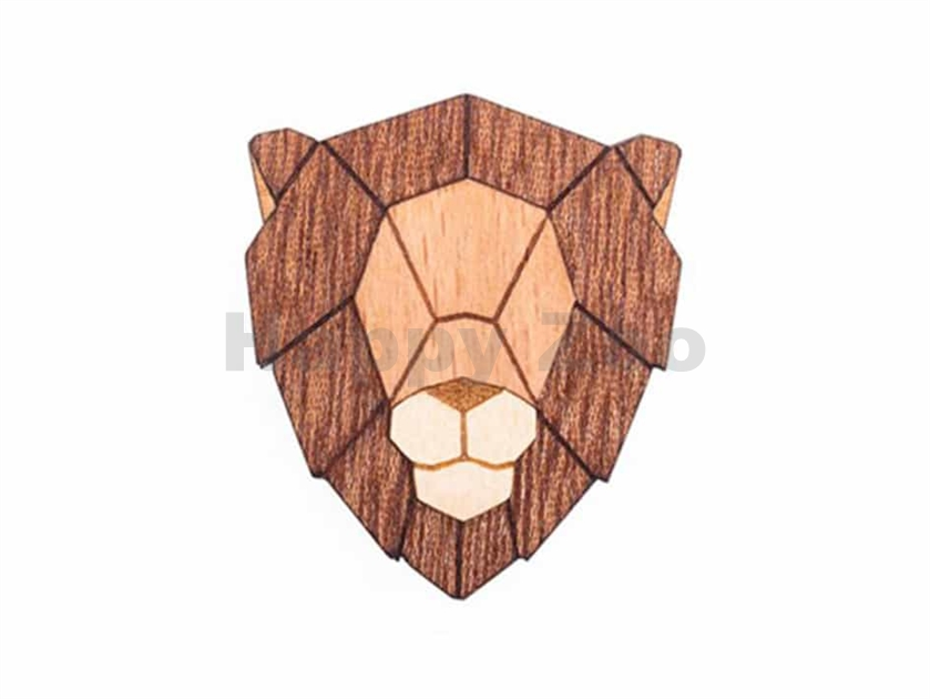 BEWOODEN Lion Brooch