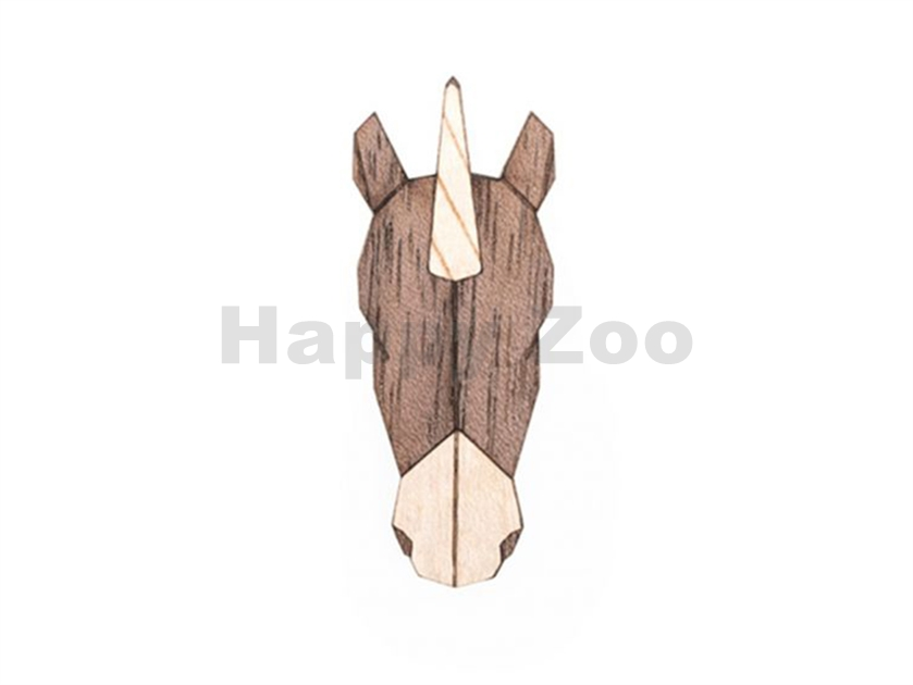 BEWOODEN Unicorn Brooch