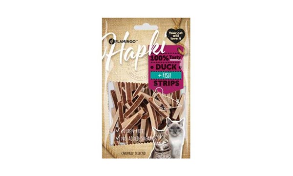 FLAMINGO Hapki Cat Duck & Cod Strips 85g