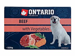 Paštika ONTARIO Dog Beef with Vegetables 320g