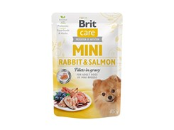 Kapsička BRIT CARE Dog Mini Rabbit & Salmon Fillets in Gravy 85g