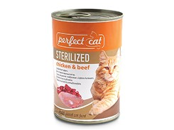 Konzerva PERFECT CAT Sterilised Chicken & Beef 400g (DOPRODEJ)