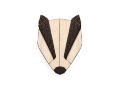 BEWOODEN Badger Brooch