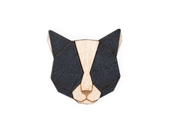 BEWOODEN Black Cat Brooch