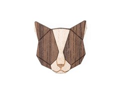 BEWOODEN Grey Cat Brooch